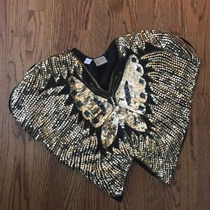 Vintage Gold Sequin Butterfly Crop Top M sparkly